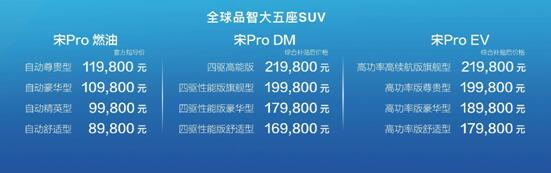 全球品智大五座SUV宋Pro赞放上市