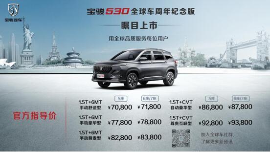 用全球品质服务每位用户!宝骏530全球车周年纪念版上市,售价7.08万起