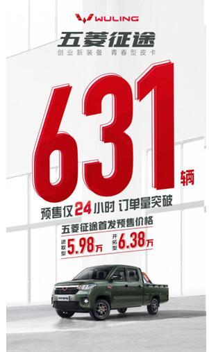 预售仅 24 小时订单达631,五菱征途引发青春皮卡抢购热潮